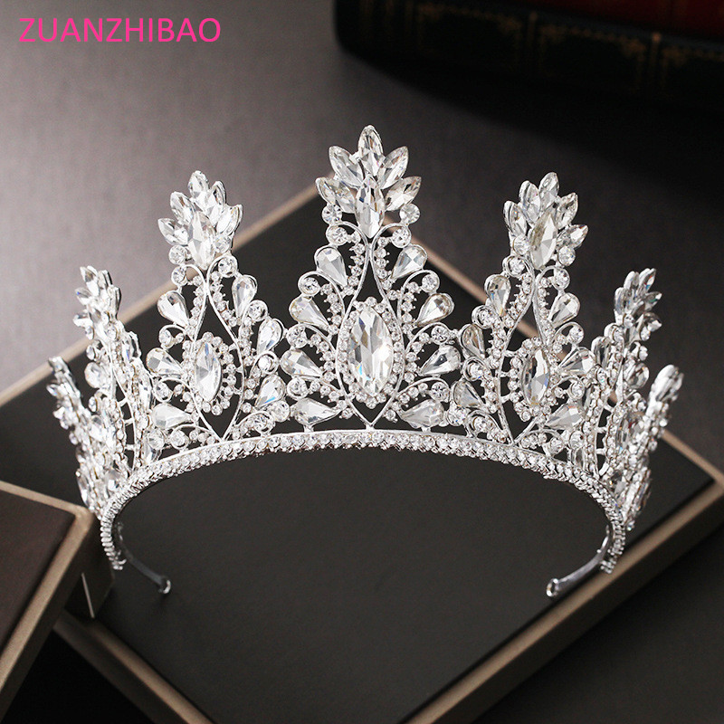 ZUANZHIBAO New Luxurious Big Crystal Bridal Charm Crown Hair Ornaments For Women Baroque Tiaras Wedding Hair Jewelry Crowns