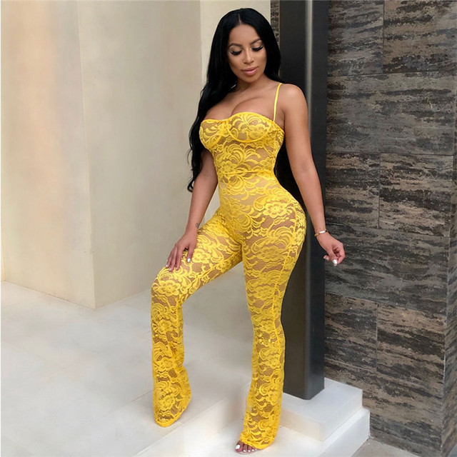 Lace Jumpsuit New Fashion Rompers Womens Jumpsuits Clubwear Playsuit Hollow Out Party Chiffon Outweaer Clothes 4