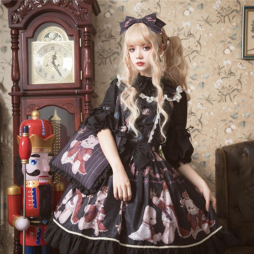 Principessa dolce lolita vestito di Estate e la primavera originale orso stampato vestito dalla cinghia tutti i giorni tutto fiammifero di modo del vestito delle donne ZJY157 - 2