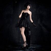שחור בסגנון פאנק נלהבות גותי שמלת בועת מיני Q-160