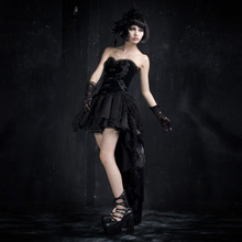 Punk Rave Gothic Style Black mini bubble Dress Q-160