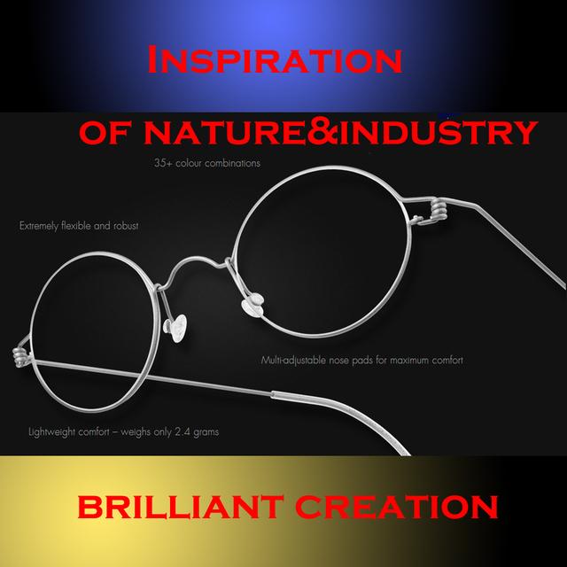 Inspiração nova rodada retro clássico do vintage legal 50 S manual de aço feito à mão linha de óculos quadro muito raro
