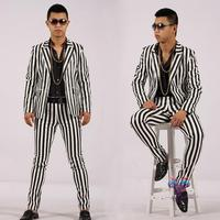 Men Suits Designs Masculino Homme Terno Stage Costumes For Singers Men Stripe Blazer Dance Clothes Jacket