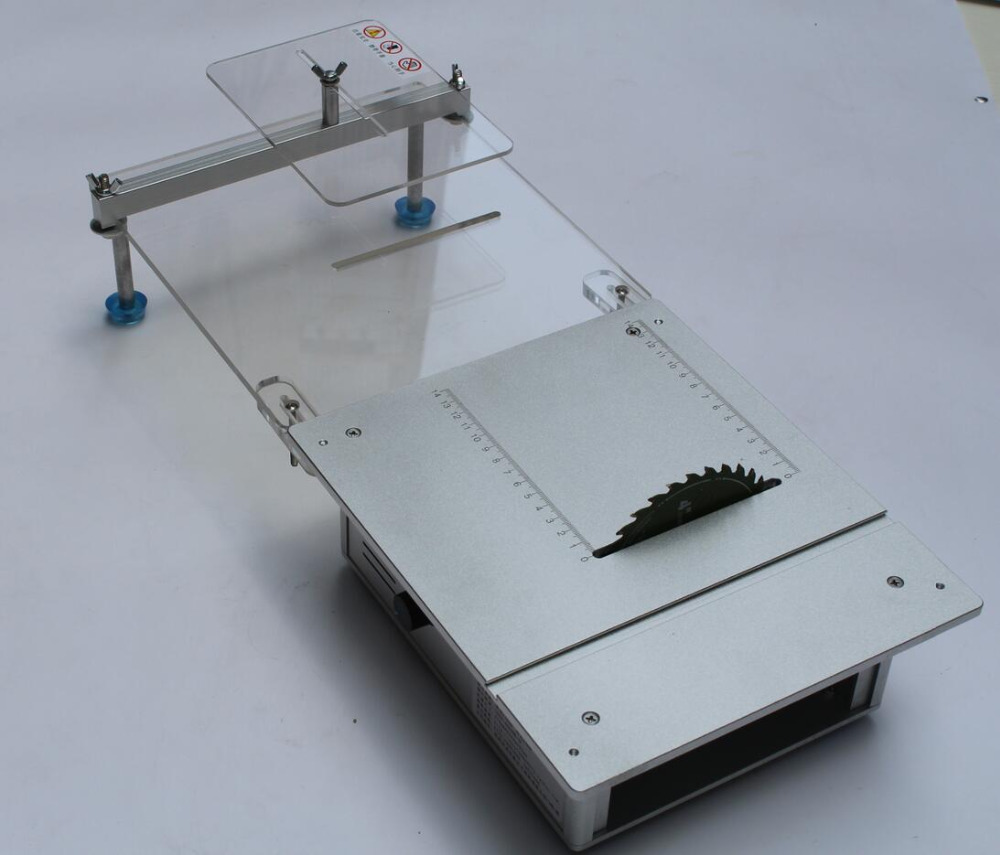 Двухмоторная мини настольная пила для работы по дереву DIY настольная машина для резки с адаптером питания и расширенной верстаком