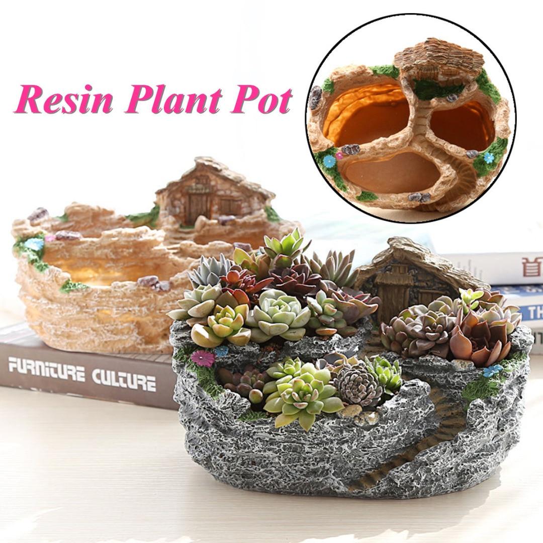 JX-LCLYL Resin Garden Flower Planter Herb Cactus Succulent Plant Pot Box Home Decor