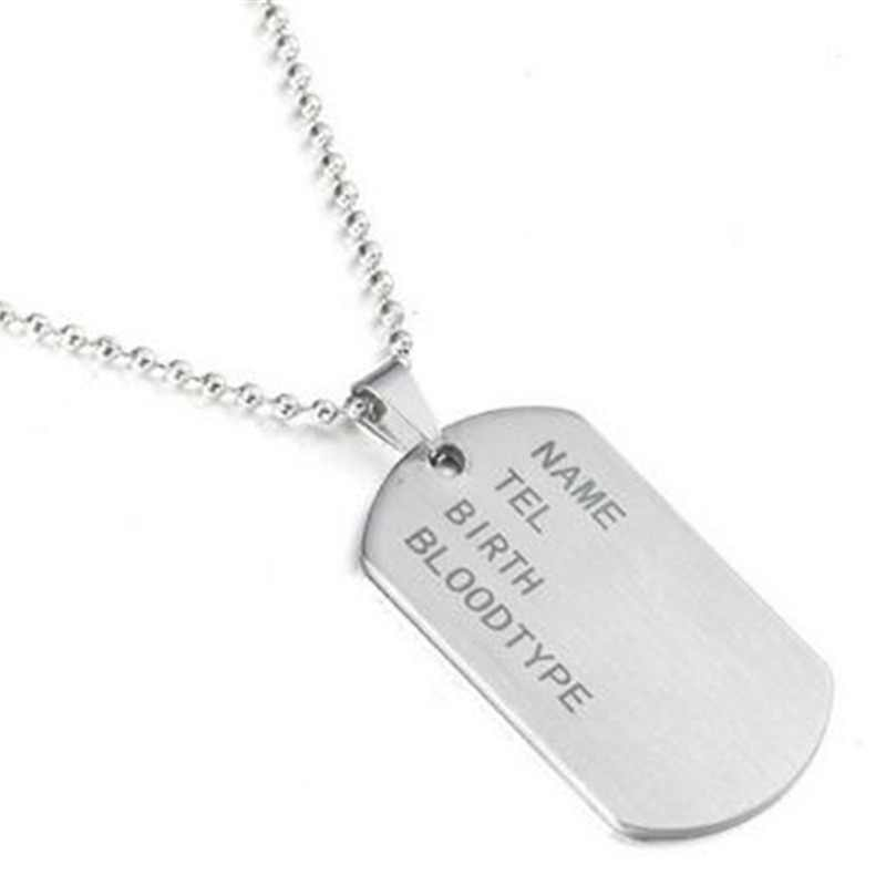 Stainless Steel Mens Necklace Stainless Steel Pendant  Dog Tags Army Nameplate Mens Pendant cross Shaving blade Necklace for men