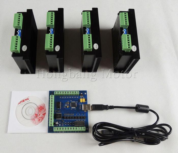 CNC mach3 usb 4 Axis Kit, ST-M5045 4 Axis Driver replace M542,2M542 + mach3 4 Axis USB CNC Stepper Motor Controller card 100KHz cnc mach3 usb 4 axis kit 4 axis driver 2dm542 mach3 4 axis usb cnc stepper motor controller card 100khz