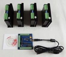 CNC mach3 usb 4 Eksen Kiti, ST-M5045 4 Eksen Sürücü M542 değiştirin, 2M542 + mach3 4 Eksen USB CNC Step Motor Kontrol kartı 100 KHz