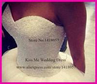 2015 Luxury Wedding Dress Ball Gown Sweetheart Pearls Tulle Bridal Dresses Lace Up Custom Made Real