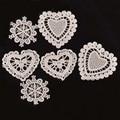 30 шт./лот белая кружевная ткань в форме сердца, аппликация, сетчатая отделка для свадебного декора, высокое качество, аксессуары для одежды, ...