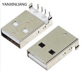 цена на 10Pcs/lot USB 2.0 Male A Type USB PCB Connector Plug Right Angle 90 degree DIP Male USB Connectors