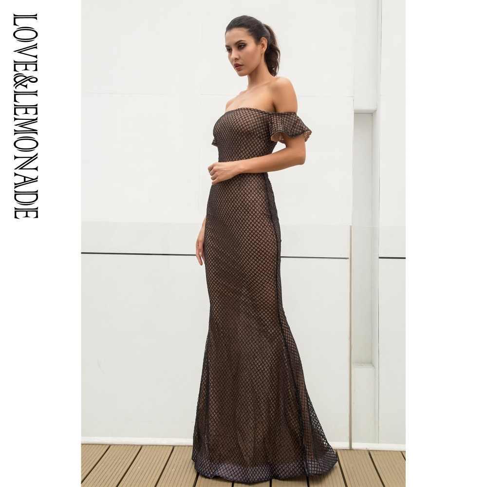 Love & Lemonade слово свинец черный плед бисера материал тонкий длинное платье LM0120
