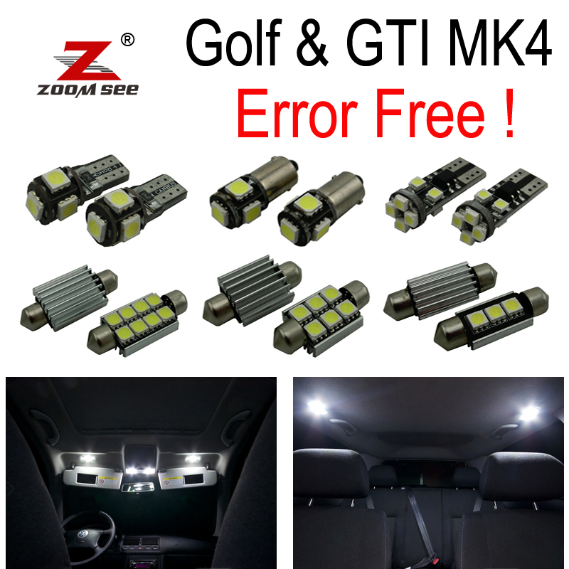 12PC X Error free for Volkswagen GTI Golf 4 MK4 MKIV Jetta LED car map reading interior lighting Kit package (1999-2005) golfliath for golf 7 abs auto car front bumper grills badgeless gti mesh grille fit for volkswagen golf mk7 gti r 2013 2017