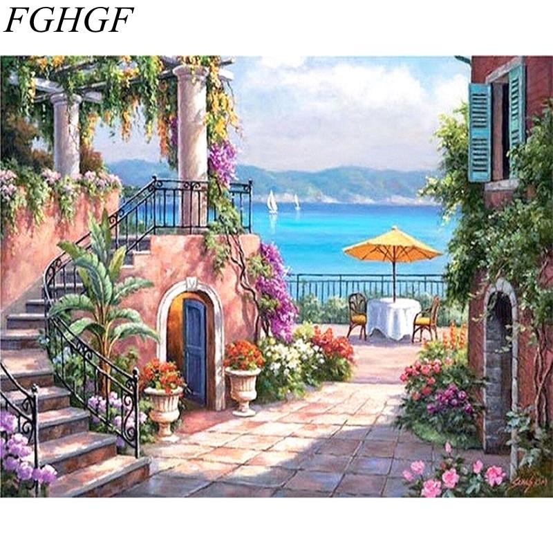 Fghgf sans cadre paysage d 39 automne peinture diy par les kits de nombres dessin peinture par - Paysage d automne dessin ...