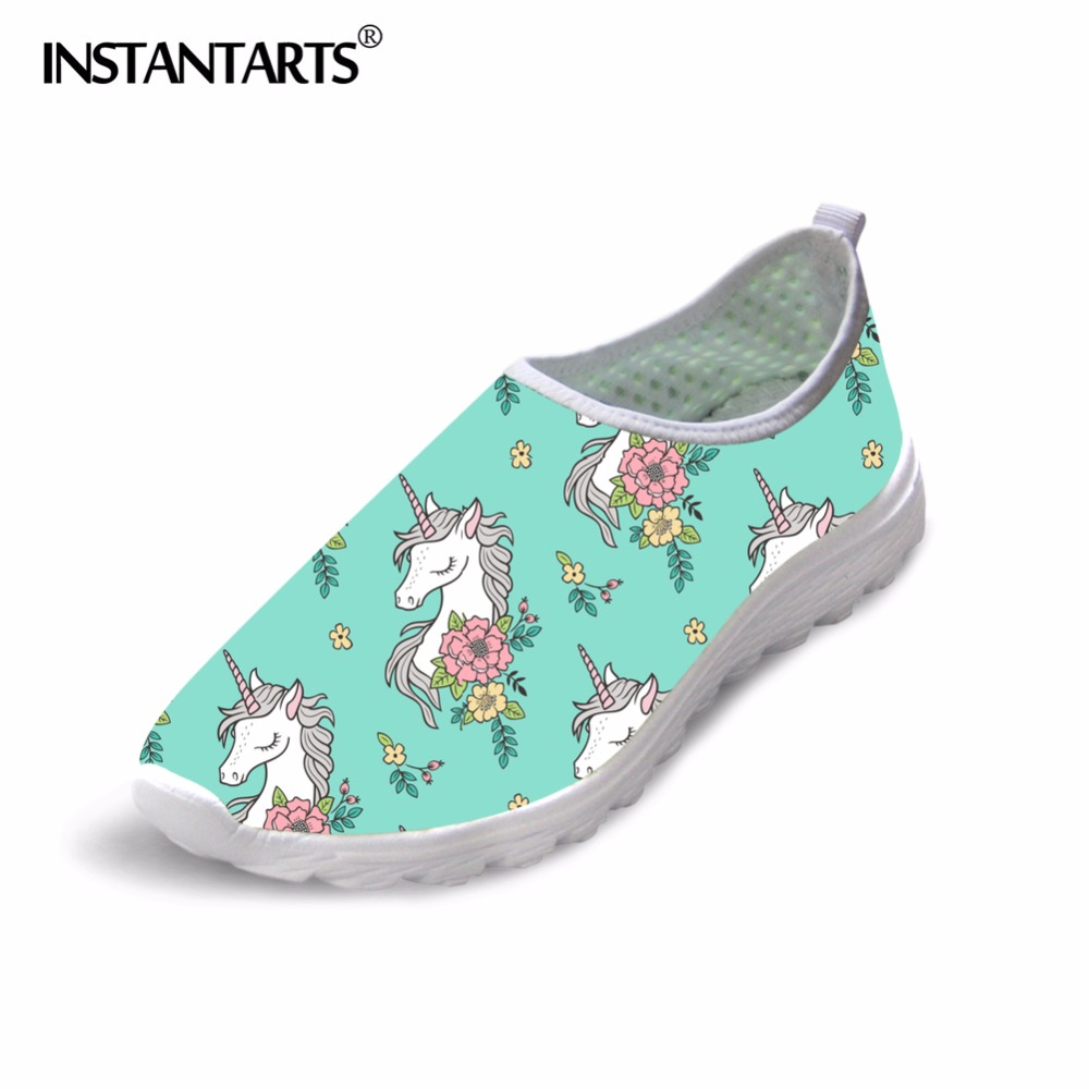 INSTANTARTS Cartoon Horse Print Women Summer Flat Shoes Breathable Slip On Water Shoes Rainbow Horse Mesh Sneakers Female Girl instantarts casual women summer flat shoes cute dog alaskan malamute flower print female air mesh shoes fashion slip on sneakers