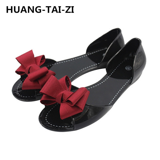 8caf10d51250 sweet sandalias de mujer women casual home   beach sandals lady cute black  bow tie jelly sandals lady casual soft sandals 35-40