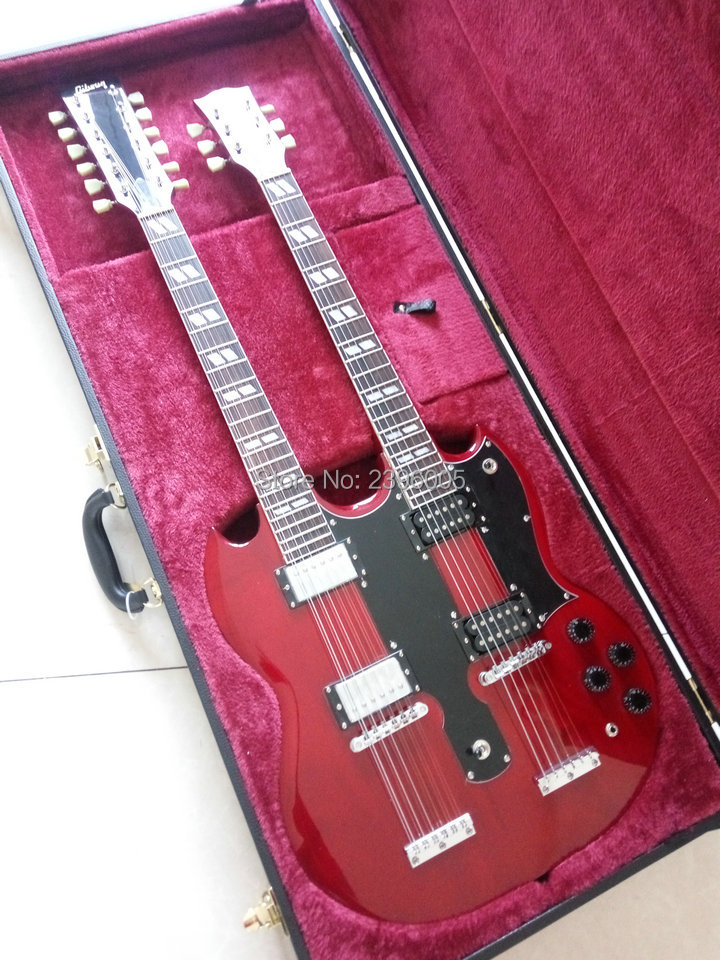 New Arrival SG Double Necks 1275 Model Electric Guitar Wine Red Jimmy Page Style 12 6