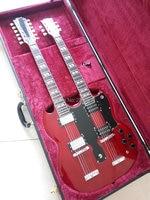 Nuovo arrivo SG doppio necks 1275 modello di chitarra elettrica di Vino Rosso Jimmy Page stile 12/6 corde chitarra elettrica di trasporto libero