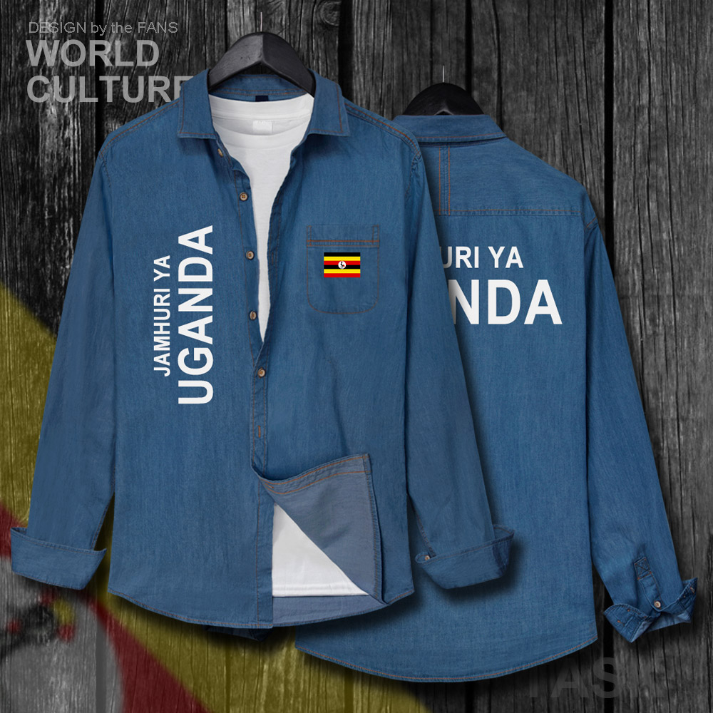 Uganda Ugandan Uga Men New Fashion Clothes Spring Autumn Cotton Turn Down Collar Jeans Shirt Long Sleeve Cowboy Coat Flags Top Casual Shirts Aliexpress