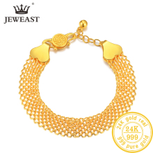 JLZB 24K Pure Gold Bracelet Real 999 Solid Bangle Upscale Beautiful  Romantic Trendy Classic Jewelry Hot Sell New 2019