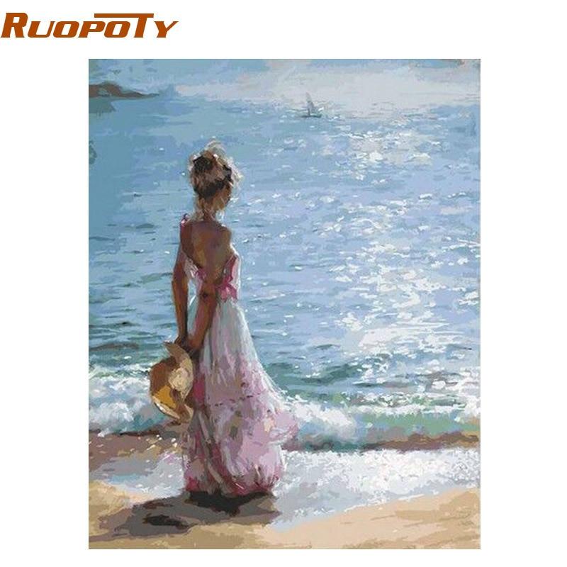 RUOPOTY marco figura pintura mar chica DIY pintura por número regalo único enviar la caja decoración del hogar pintado a mano obras 40x50 cm