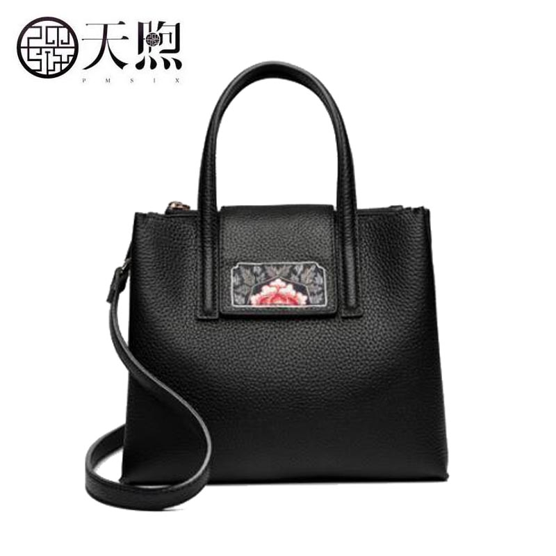 Famous brand top quality Cow Leather women bag 2018 new fashion embroidered leather handbag bag Large capacity Messenger bag famous brand top quality cow leather women bag women bag handbag 2018 new embroidery hand bag shoulder messenger bag