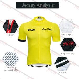Image 2 - 2020 STRAVA Pro Team yaz bisiklet Jersey seti bisikletçi giysisi nefes erkekler kısa kollu gömlek bisiklet önlüğü şort 20D jel pedi