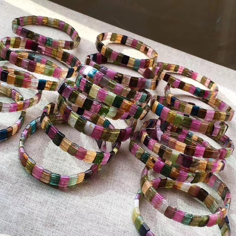 Tourmaline square 6*3mm  bracelet 7.5inch FPPJ wholesale beads nature