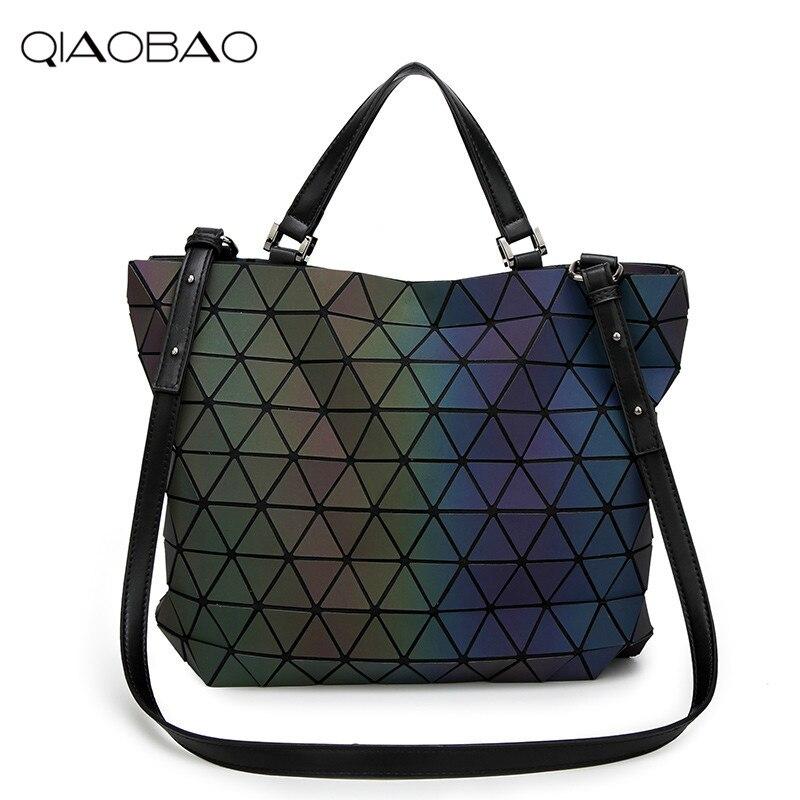 Qiaobao Леди Сумочка геометрические Лазерная BAOBAO Сумочка Для женщин мешок световой Lingge Bao Tote Мода Портфели сумка ведро