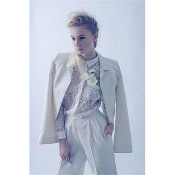 Custom Made Ivory Womens Formal Wear Pantsuits Female Business Suit 2 Piece Set Trouser Suit B70