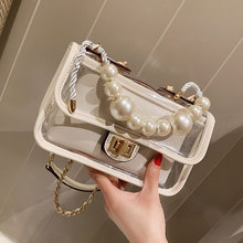 ETAILL Clear Transparent PVC Shoulder Bags with Golden Chain Women Candy Color Jelly Purse Pearl Top Handle Crossbody