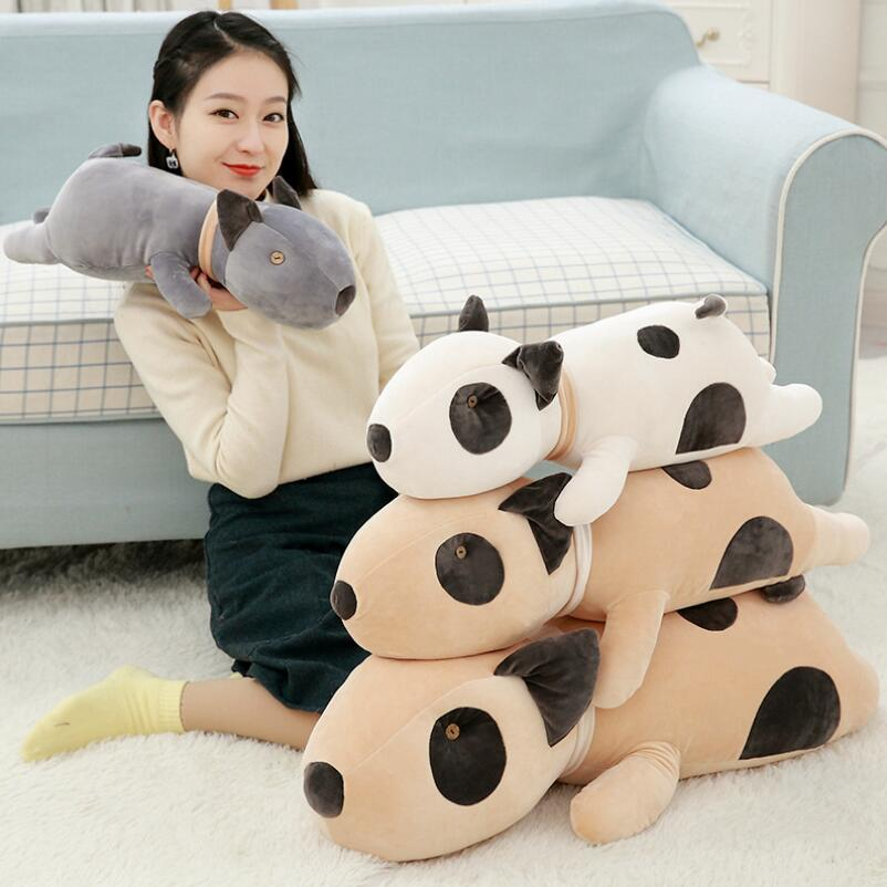 Creative Doll Plush Toy Bull Terrier Pillow Lying Dog Stuffed Animal For Kids Children Birthday Gift cute labrador big plush toy lying dog doll search and rescue stuffed toys children birthday gift pillow