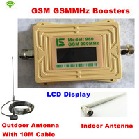 LCD GSM980 Cell Phone Signal Booster 2G GSM 900mhz Signal Repeater GSM Booster Outdoor Antenna With 10M Cable + Indoor Antenna
