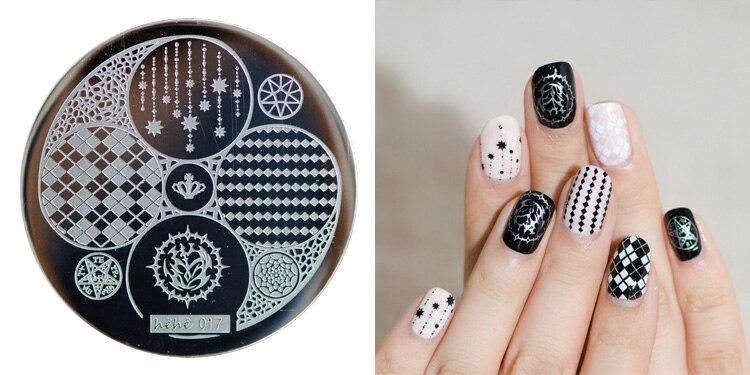 12 Design (5.5*5.5 cm) 5 Star/Clover/Imagem Meninas Decorações Da Arte Do Prego Selo DIY Stamping Nail Art DIY Template Manicure 1 PCS