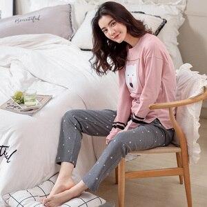 Image 2 - Autumn Winter Women Pyjamas Cotton Clothing Long Tops Set Female Pyjamas Sets Night Suit Sleepwear Women Home Clothes Ladies Set
