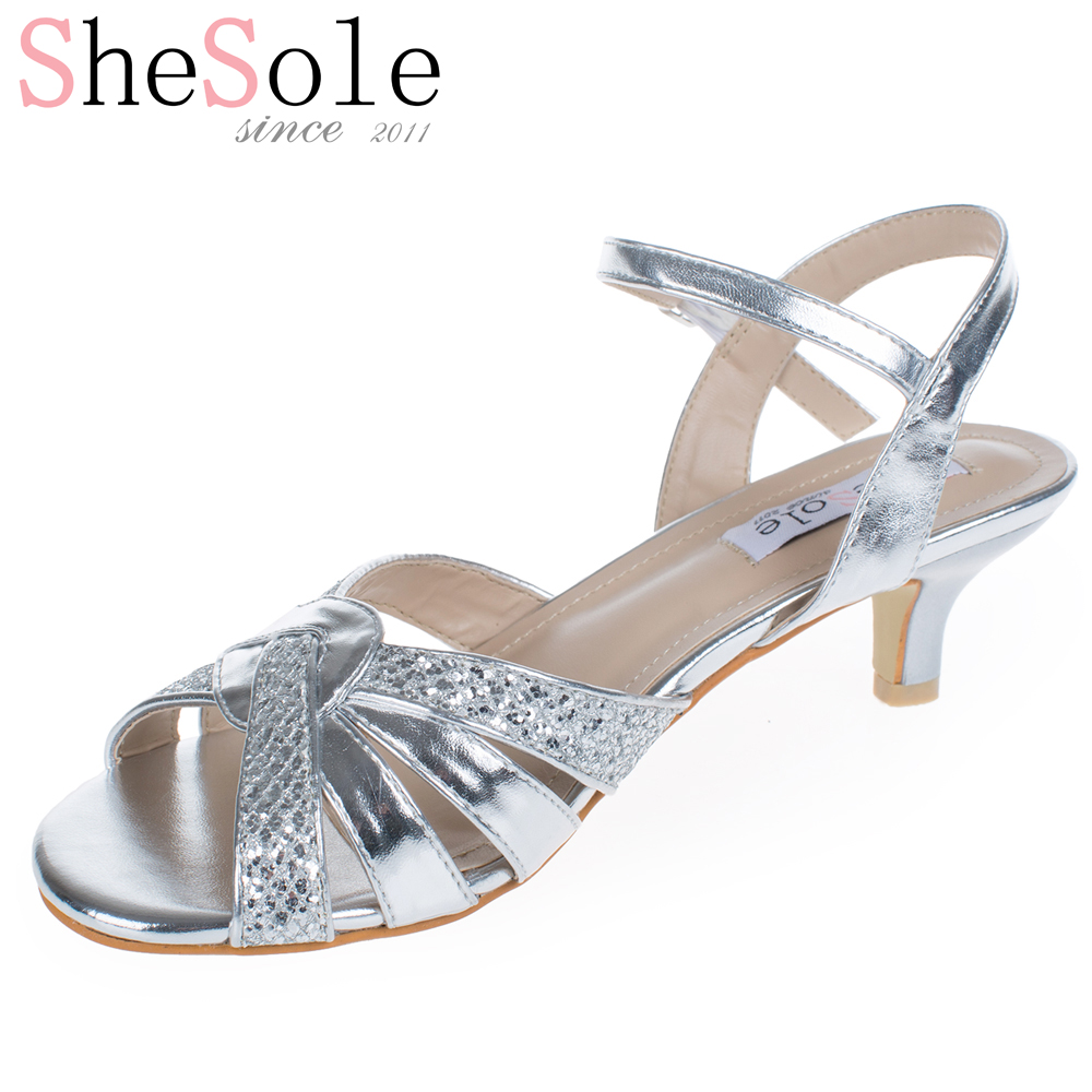 silver party shoes low heel ha heel
