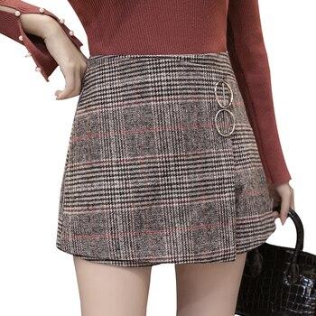 Business work wool shorts women autumn high waist plaid short feminino winter thicken ladies wide leg asymmetrical shorts skirts Шорты