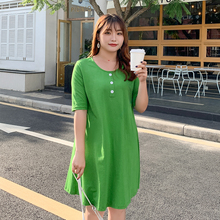 New fashion plus-size womens green dress Korean version of summer slim 2126