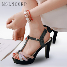 Plus Size 34-43 Fashion Summer Sexy Women Sandals Females Extreme High Heels Bling Open Toe Sandals Platform Party Pumps Shoes