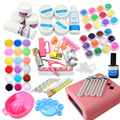 36w uv pink lamp Timer manicure set Nail Art UV Gel Kits sets Tools Brush Tips Glue Acrylic Powder Liquid nail Art Set