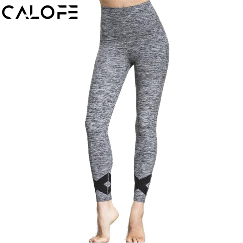 CALOFE Athleisure Yoga Pants Women High Waist Grey Sport Pants Cross Printed Breathable Fitness Leggings Slim Workout Trousers