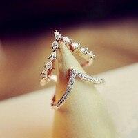 Блестящий горный хрусталь двойные кольца для женщин модные ювелирные bijoux Регулируемый золотой цвет кольцо волна Циркон регулируемые