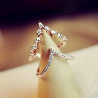 Сверкающих стразами Двойные кольца для женщин модные ювелирные bijoux Регулируемый золотой цвет кольцо волна Циркон регулируемые