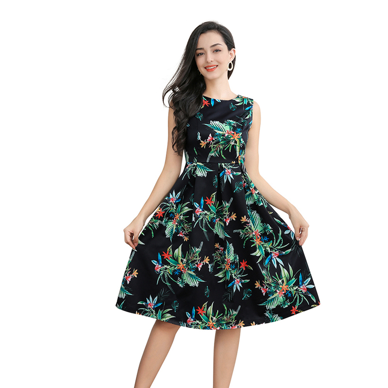 Vintage elegant print sleeveless dress 2019 summer women round collar casual party streetwear dress ladies vestidos in Dresses from Women 39 s Clothing