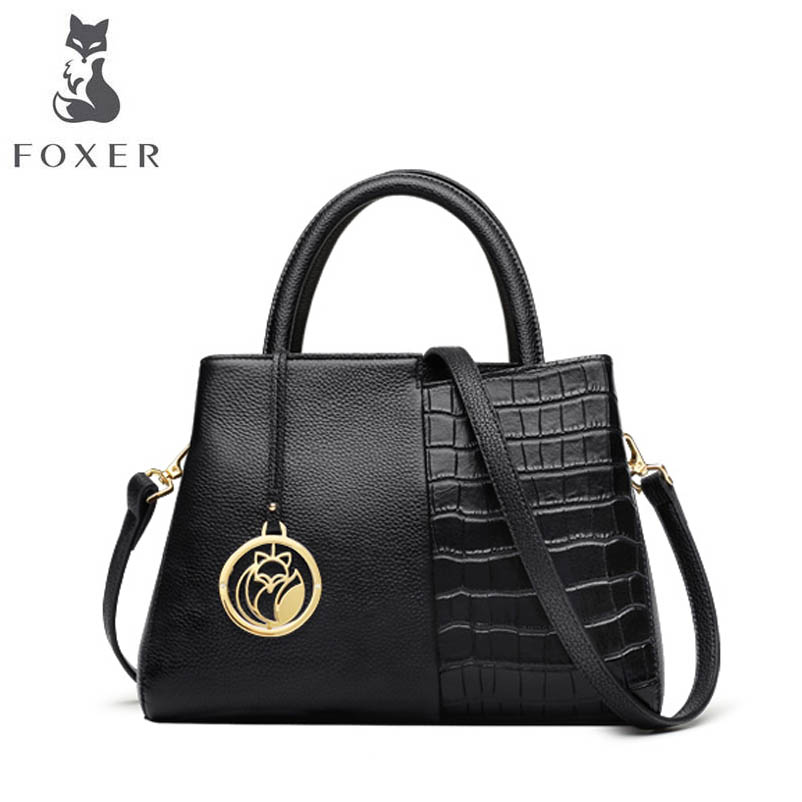 FOXER 2018 New Women Genuine Leatherbag designer famous brand Cowhide Crocodile pattern fashion leather shoulder bag foxer shoulder