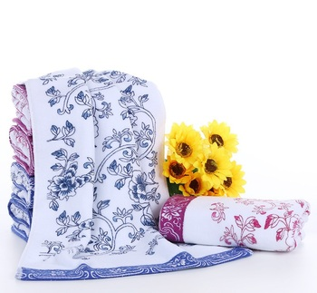 2018 New Thicken Luxury Porcelain Embroidery Floral Towels Cotton Washcloth Terry Cloth Hand Face Towel Bathroom 34*75cm EA02 pink floral towels
