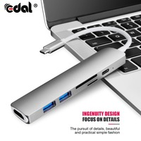 EDAL Type C USB Hub Converter for MacBook Pro Thunderbolt 3 USB 3.1 Hub SD/Micro SD Card Reader USB C Charger PD Converters