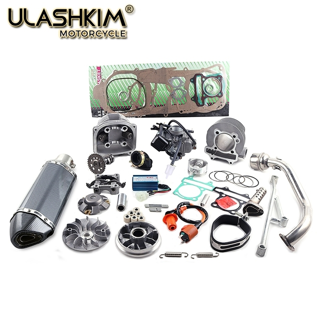 US $119 0 |157QMJ 1P57QMJ 152QMI 1P52QI engine GY6 125 150 Scooter Cylinder  Kit Bore 57 4mm Racing Exhaust Chrome CDI Cam Coil oil   -in Engines from