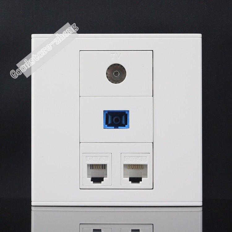 Настенная тарелка 4 Порты CAT5E RJ45 сети LAN + SC выходе оптического волокна + ТВ гнездо + RJ11 телефон панель Лицевая панель оптовая продажа