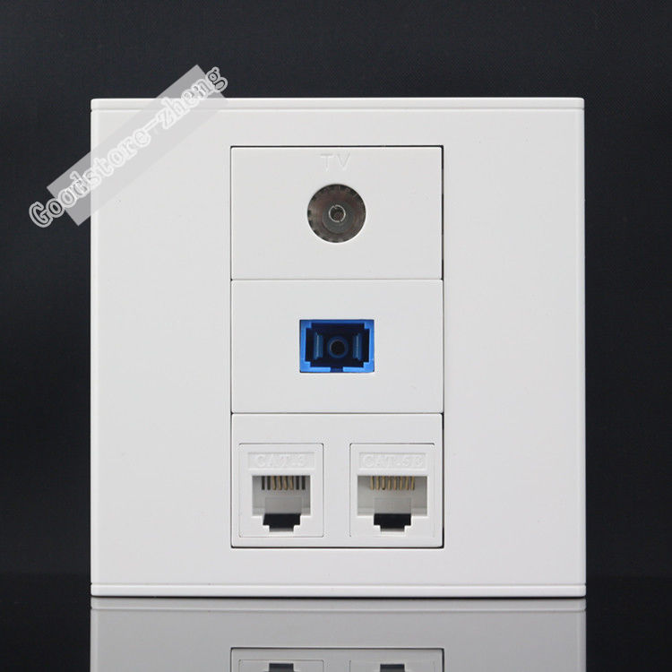 Wall Plate 4 Ports CAT5E RJ45 Network LAN  + SC Optical Fiber Outlet +TV Socket +RJ11 Telephone Phone Panel Faceplate Wholesale atlantic brand double tel socket luxury wall telephone outlet acrylic crystal mirror panel electrical jack